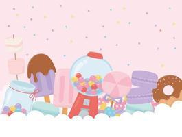caramelle, gelati e dessert sulle nuvole vettore