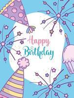 biglietto di auguri di compleanno blu con stelle e cappellini da festa vettore