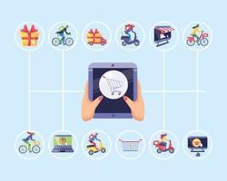 set di icone di shopping online vettore