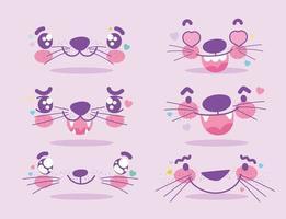 set di emoji di espressioni facciali di simpatici animali kawaii vettore