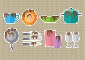 Icone di piatti sporchi vettore