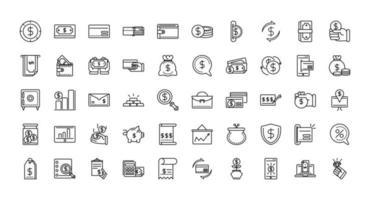 finanze e set di icone di business line-art vettore