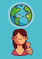 carino pianeta terra e donna con il pollice in su