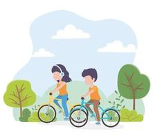 coppia in sella a biciclette in un parco vettore