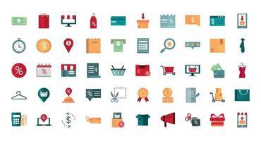 set di icone di commercio e affari vettore