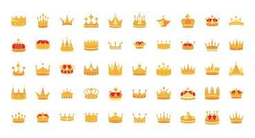 set di icone di corone d & # 39; oro di lusso vettore