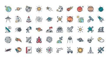 set di icone di astronomia e scienza vettore