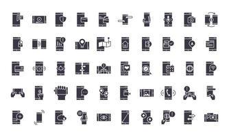 set di icone di sagoma nera elettronica