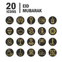 insieme dell'icona di celebrazione di eid mubarak vettore