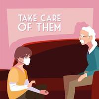 giovane con una maschera prendersi cura di un vecchio