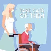 donna si prende cura di un vecchio in sedia a rotelle