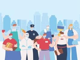 un gruppo di lavoratori essenziali sul paesaggio urbano vettore