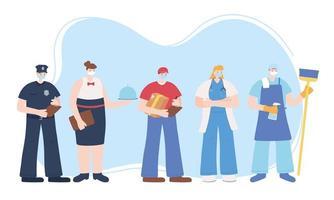 modello di carta di vari lavoratori essenziali