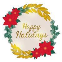 ghirlanda di Natale con poinsettia, aghi di pino, foglie e scritte vettore