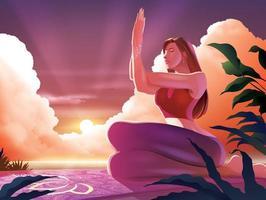 signora di yoga in posa garudasana vettore