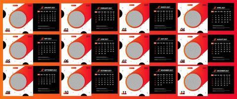 calendario da tavolo 2021 modello di cerchio che scorre vettore