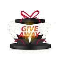 """Confezione regalo """"giveaway"""" con banner di testo su sfondo bianco"""