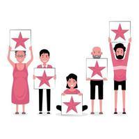 gruppo di persone in possesso di un segno di feedback a 5 stelle