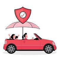 famiglia assicurata alla guida di un'auto vettore