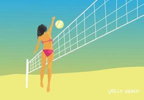 donna che gioca a pallavolo sulla spiaggia in estate vettore
