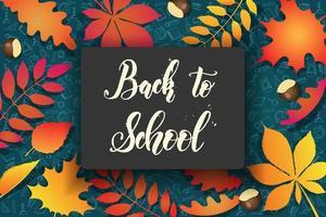 torna a scuola foglie d'autunno sul modello doodle vettore