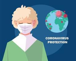 giovane uomo che utilizza maschera medica, protezione contro il coronavirus