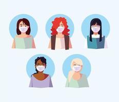 insieme di persone in maschere mediche per la prevenzione dei virus