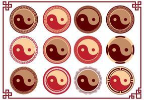 yin yang tai chi logo symbol collection vettore