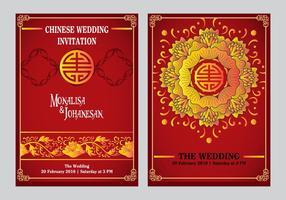 Invito a nozze cinese indietro e design frontale vettore