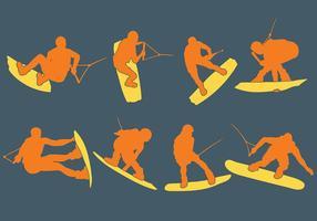 Vettore libero delle icone di Wakeboarding