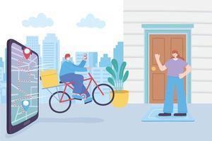 uomo di consegna bici che indossa una maschera con lo smartphone dietro vettore