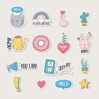 simpatiche icone assortite per carte, adesivi o toppe
