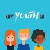 poster di felice giornata della gioventù con adolescenti vettore