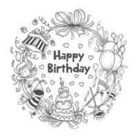 ghirlanda di regali di compleanno disegnata a mano