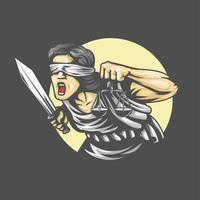 la dea themis con una spada di giustizia e pesi vettore