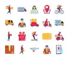 set di icone di consegna e trasporto di merci vettore