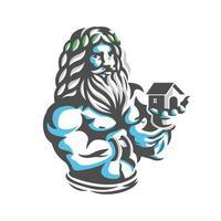 Zeus con il logo della casa a portata di mano vettore