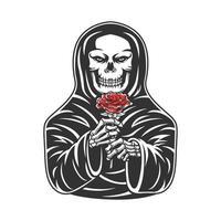 teschio che indossa un mantello che tiene in mano una rosa