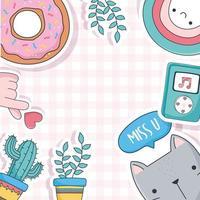 simpatico gatto, piante in vaso, ciambelle e icone della musica