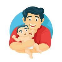 padre che trasporta figlio bambino