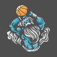 Zeus lancia l'emblema del basket vettore