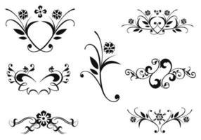 Pacchetto di ornamenti floreali vettoriale due