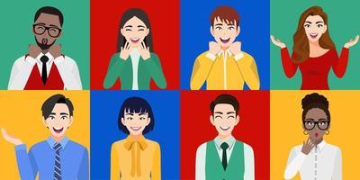 uomini e donne sorpresi che sorridono con le bocche aperte insieme