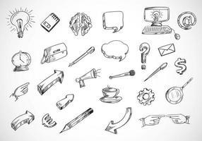 set di icone di tecnologia schizzo a matita vettore