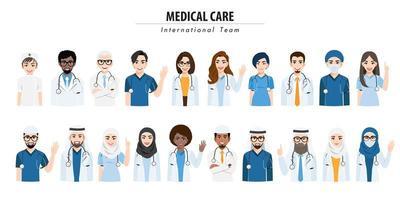 team medico internazionale e set di personale