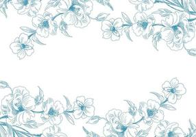 bordi floreali di schizzo blu vettore
