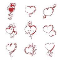 set di schizzo di cuore rosso