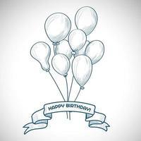 bouquet e banner di palloncini di compleanno disegnati a mano