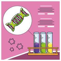 infografica con molecola di DNA e ricerca per covid 19 vettore