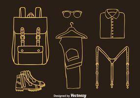 Linea icone degli accessori dell'uomo vettore